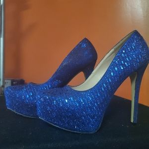 Royal Blue Diamante Platform Heels